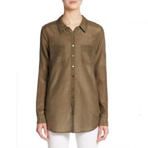 [CALYPSO St. Barth] KESARI COTTON SILK BUTTONDOWN olive/당일배송